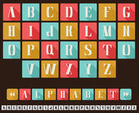 Alphabet Flat Design Style. ABC letters in trendy flat design style in three retro colors, capital letters. Easy combine to any phrases. Monochrome variant is Stock Image