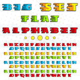 Alphabet in a flat style. Bright, saturated colors. For the design, decoration, printing on paper, cloth Stock Photo