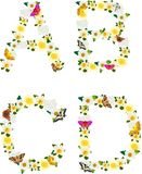 Alphabet of flowers and butterflies-A, B, C, D. Royalty Free Stock Images