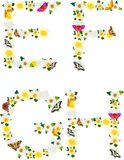 Alphabet of flowers and butterflies-E, F, G, H. Royalty Free Stock Photography