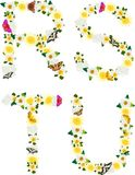 Alphabet of flowers and butterflies-R, S, T, U. Royalty Free Stock Image