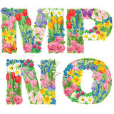 Alphabet of flowers mnop Royalty Free Stock Photo