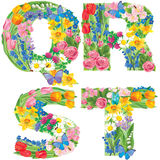 Alphabet of flowers SQRT Royalty Free Stock Photography