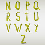 Alphabet folded green paper abstract template Stock Photography