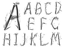 Alphabet font in asian style. Royalty Free Stock Photos