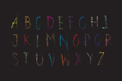 Alphabet font colorful Crayon Stock Photos