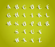 Alphabet font, cut of paper stock illustration