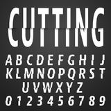 Alphabet font cutting design. Alphabet font template. Letters and numbers cutting design. Vector illustration Royalty Free Illustration