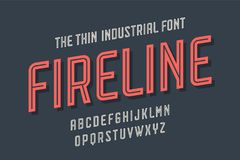 Alphabet and font Fire Line. Bold, regular and medium uppercase letters. Strong trendy industrial inline condensed font for creative design, advertising Royalty Free Stock Photo