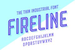 Alphabet and font Fire Line. Bold, regular and medium uppercase letters. Strong trendy industrial inline condensed font for creative design, advertising stock illustration