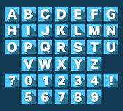Alphabet font flat design. Alphabet font flat icons design. Letters and numbers template. Vector illustration Stock Images
