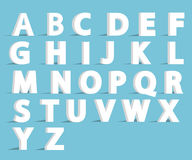 Alphabet font with flat long shadow effect. Royalty Free Stock Images