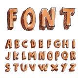 Alphabet font line set- Vector illustration. Royalty Free Stock Images