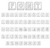 Alphabet font line set- Vector illustration. Royalty Free Stock Image