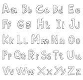 Alphabet font line set- Vector illustration. Stock Image