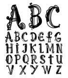 Alphabet font line - Vector illustration Royalty Free Stock Photos