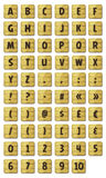 Alphabet Font Set On Wood Signs. Illustration of a set of funny ABC alphabet letters and numbers with font characters on wood signs, for ui game on tablet pc Stock Image