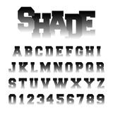 Alphabet font shade design. Set of letters and numbers with black and white gradient. Vector illustration Stock Illustration