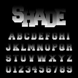 Alphabet font shade design. Set of letters and numbers with black and white gradient. Vector illustration Royalty Free Illustration