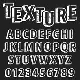 Alphabet font template. Set of letters and numbers old texture design. Vector illustration stock illustration