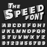 Alphabet font template. Set of letters and numbers speed design. Vector illustration Vector Illustration