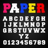 Alphabet font template. Letters and numbers paper design. Vector illustration Vector Illustration