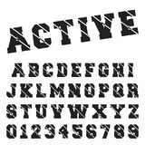 Alphabet font template. Set of letters and numbers active black and white design. Vector illustration Stock Illustration