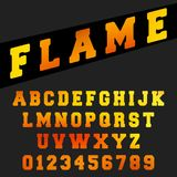 Alphabet font template. Set of letters and numbers flame design. Vector illustration Stock Photo