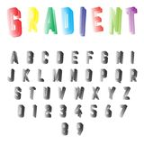 Alphabet font template. Set of letters and numbers gradient design. Vector illustration Stock Illustration