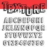 Alphabet font template. Set of letters and numbers old texture design. Vector illustration royalty free illustration