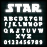 Alphabet font template white neon design - star. Alphabet font template. Set of letters and numbers white neon design. Vector illustration Stock Illustration