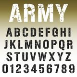 Alphabet font army stamp design. Alphabet font template. Vintage letters and numbers army stamp design. Vector illustration stock illustration