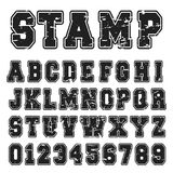 Alphabet font black stamp design. Alphabet font template. Vintage letters and numbers black stamp design. Vector illustration royalty free illustration