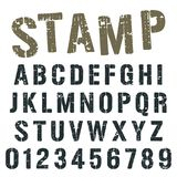 Alphabet font stamp army design. Alphabet font template. Vintage letters and numbers stamp army design. Vector illustration stock illustration