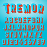 Alphabet font tremor design. Alphabet font template. Set of letters and numbers tremor design. Vector illustration stock illustration