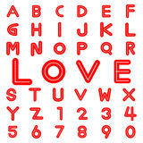 Alphabet fonts and numbers for valentine Stock Images