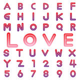 Alphabet fonts and numbers for valentine Stock Photography