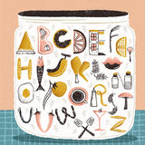 Alphabet of food. Creative alphabet of various elements in kitchen as vector royalty free illustration
