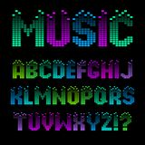 Alphabet in the form of an equalizer. Bright neon letters. Font for Musical Flyer, Night Party poster or Club Invitation vector illustration