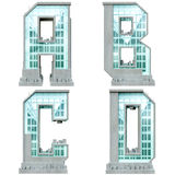 Alphabet in the form of urban buildings. Stock Images