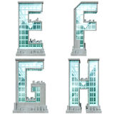 Alphabet in the form of urban buildings. Royalty Free Stock Photos