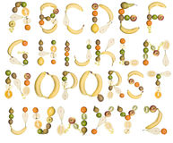 The Alphabet formed by fruits Stock Photos