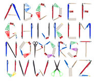 The Alphabet formed by office supplies Royalty Free Stock Image