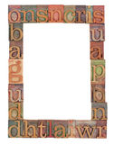 Alphabet frame in letterpress type Royalty Free Stock Image