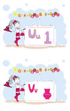 Alphabet francais. French alphabet, vector U, V Royalty Free Stock Photography