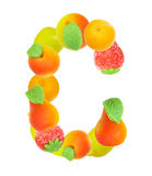 Alphabet from fruit, the letter C Stock Images