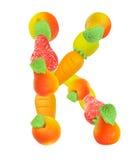 Alphabet from fruit, the letter K Stock Photos