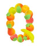Alphabet from fruit, the letter Q Stock Images