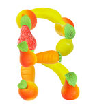 Alphabet from fruit, the letter R Stock Photo
