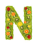 Alphabet from fruit - N Stock Photography